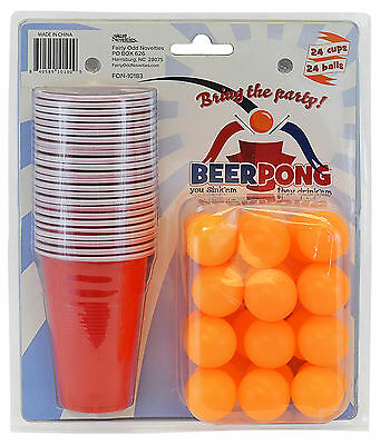 Beer Pong - 24 Cups and 24 Ping Pong Balls - Ultimate Gaming Fun College Party