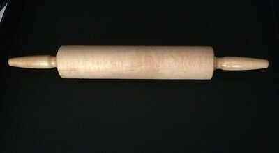 "Vintage Foley Maple Wood Rolling Pin 18"" End To End - Smooth Ball Bearings"