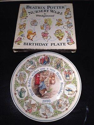 Boxed Beatrix Potter Nursery Ware by Wedgwood Peter Rabbit Birthday Plate 1990