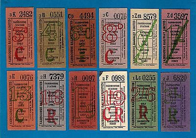 Fairbourne Railway Limited - 12 Bell Punch Tickets - £sd Currency - 1960s/70s