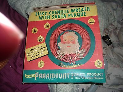 Vintage PARAMOUNT CHENILLE WREATH 1940s Lighted Red with Santa Plaque