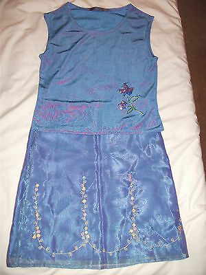 Marks And Spencer / George Purple Lilac Girls Outfit Skirt & Top Age 9-10
