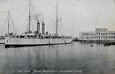 Early Postcard. The American Ship, S.S. Cleveland at Port Said.