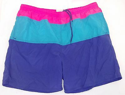 SURF GEAR - VTG Pink, Blue & Purple Lined Swim Trunks, Board Shorts, Men's 40/42