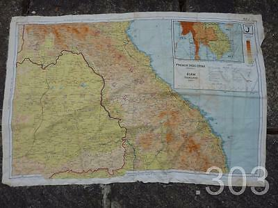 1944 WWII Silk Escape Map French Indo China Siam Thailand, RAF Pilot Aircrew