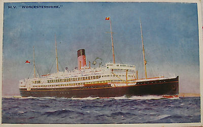 Early Colour Postcard. The Ship, M.V. Worcestershire.