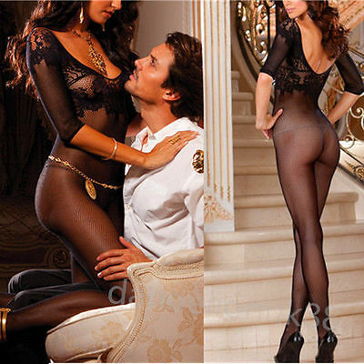 Black Babydoll Dress Set Sexy Lingerie Underwear open crotch BODYSTOCKING M183