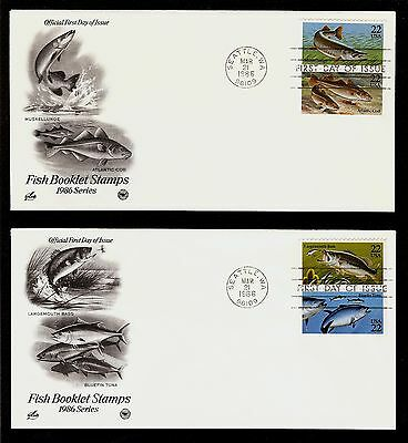 FIRST DAY COVER 22c Fish Booklet Stamps #2205 - 2209 ARTCRAFT U/A FDC Set 1986