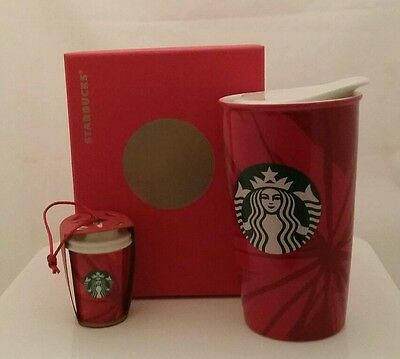 STARBUCKS  Dot Collection Red with Siren Mermaid TRAVEL TUMBLER MUG  + ORNAMENT