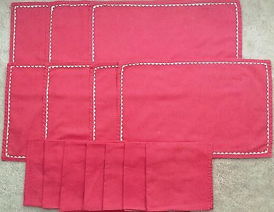 Set of 7 Vintage Coral Cloth Place Mats with Matching Cloth Napkins
