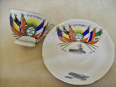 WW1 Victory / Peace cup and saucer, 1919 Iron duke and early aircraft transfer