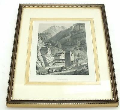 20ThC Black & White lithograph Print Signed - Castle Frame Picture C1900