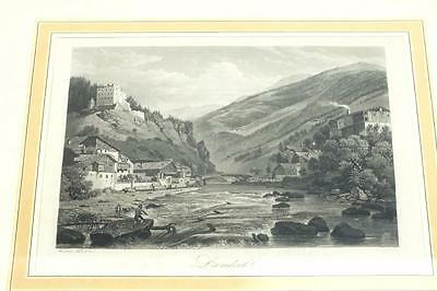 20ThC Black & White lithograph Print Signed - Castle Mountain Frame Picture 1900
