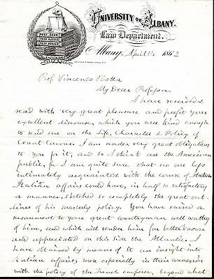 1862 University of Albany Law Department Letterhead Signed by Amos DEAN
