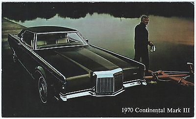 1970 LINCOLN Continental MARK III 2-Dr Dealer NOS Promotional Postcard UNUSED VG