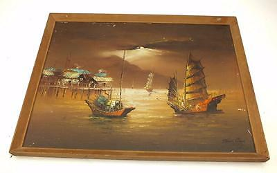 20thC Coastal Ship Oil on Canvas Painting Sail Boats Signed Picture Tang Ping