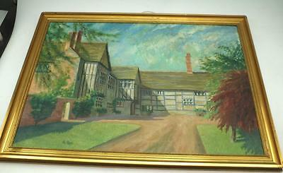 19thC Frampton House Oil Painting on Canvas - Country House Picture - By A Pope