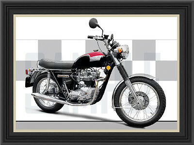 Triumph T140  Motorcycle Print /  Motorcycle Poster (1974)