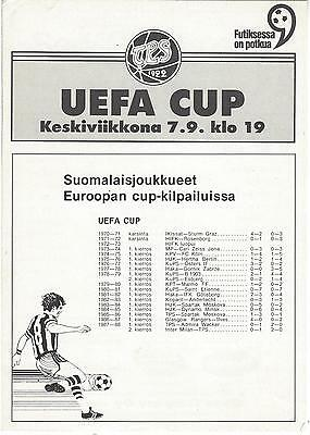 TPS ( Finland ) v LINFIELD 88-9 UEFA Cup  Programme