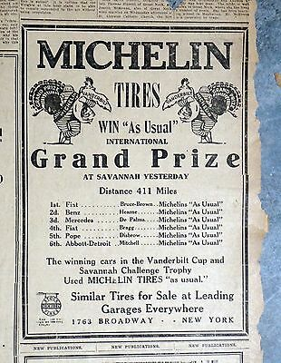 """1911 Newspaper Ad - Michelin Tires """"Win As Usual"""" Savannah Auto Race"""