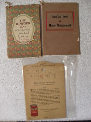 1926 Rumford Way Home Management Household Economy Recipes Cookbook Lot of Three