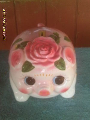 LARGE Ceramic Pink & White Pig Piggy Bank with Floral Designs