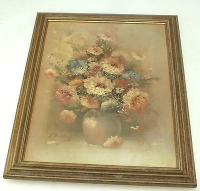 20thC Still Life Oil Painting Of Flowers Flower Vase Picture on Canvas Original