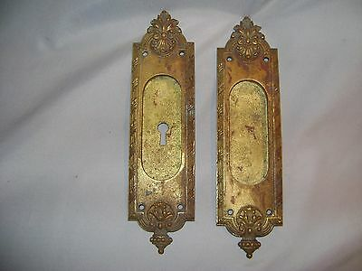 Antique Yale & Towne Brass Recessed Pocket Door Pulls / Number 13764