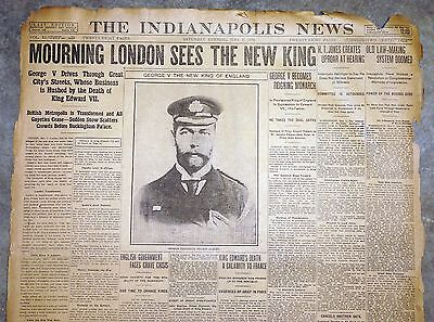 1910 Indianapolis Newspaper - Britain Mourns Edward VII, New King George V