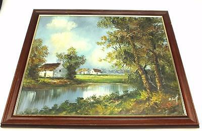 20thC oil on canvas Painting Country Farm Landscape Picture - Framed Signed