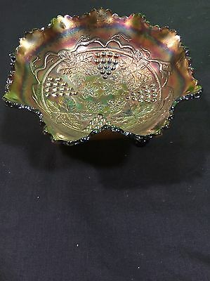 Vintage Fenton Northwood Grapes Cable Leaves Carnival Glass Bowl Amethyst