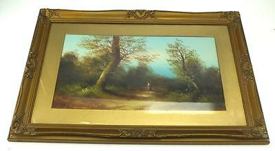 19thC Painting Oil on Canvas - Long Walk Country Lane Landscape Picture - Framed
