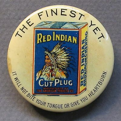 rare 1896 RED INDIAN CUT PLUG Tobacco celluloid advertising pocket mirror *