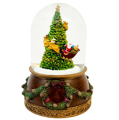Christmas Snow Globe Santa and Sleigh Around Christmas Tree (Musical)