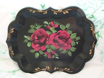 Romantic Christmas Gift Vintage Hand Painted Tole Roses Dresser Vanity Tray