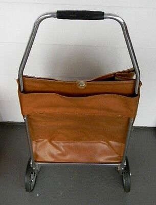 Fold-up Shopping Cart - Leather-like Basket - Fold-up Wheels