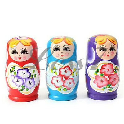 5 Piece Russian Nesting Matryoshka Wooden Doll Set Hand Painted Decor Gift Toy ゃ