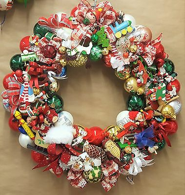 """Vintage Wood & Glass Ornament 24"""" Christmas Holiday Wreath Hand Crafted Santa"""