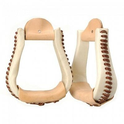Royal King Bell Bottom Rawhide Covered Western Stirrups Light Oil Horse Tack