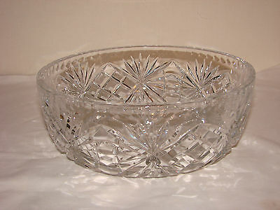 Round Crystal Cut Glass Fruit Bowl