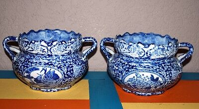 Vintage Porecelain Chinese Blue and White Bowl Vase With Handles Pair