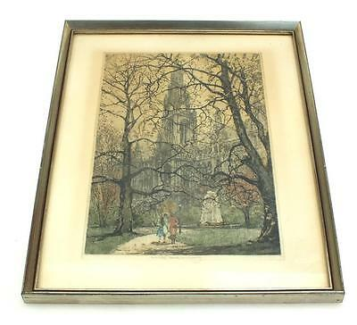 20Thc Coloured lithograph Print Signed - City Street Frame Picture C1900