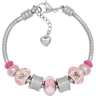 Charm Bracelet For Women Fits European Charms 7.5 Inch Treasures in Pink Ribbon