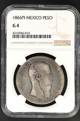 1866 Mexico Silver Peso NGC G-4 Lowest Pop Great For Lowball Set! -147142