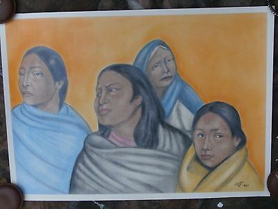 Francisco Zuniga     4 Native Woman  Dated 1980         Hands Signed    Fabriano