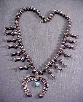 Vintage Old Pawn Navajo Sterling Squash Blossom Fluted Bead Turquoise Necklace