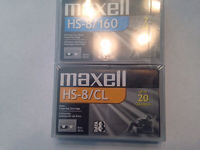 Nip Maxell Hs-8 Cleaning Tape+Hs-8 Data Cartridge-Both Free Ship U.s!-Ww Ship