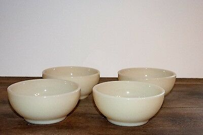 """4 Fire King Ivory 5"""" Chili Cereal Bowls ~ Blue Milk Glass ~ Beautiful! Heavy"""