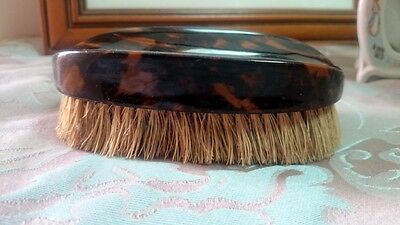 1930's Vintage Deco Faux Tortoise Shell Xylonite Clothes Brush with Leather Case