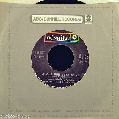 """7"""" THE MAMAS & PAPAS feat. MAMA CASS Dream A Little Dream Of Me DUNHILL ABC 1968"""